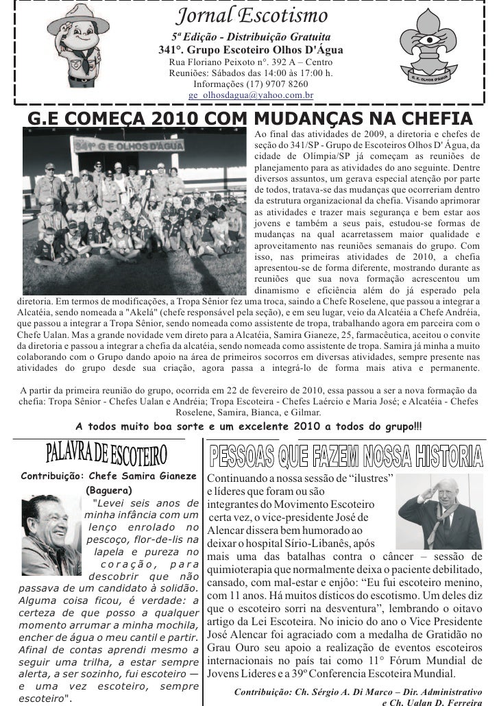 Jornal Escotismo                                       5ª Edição - Distribuição Gratuita                                  ...