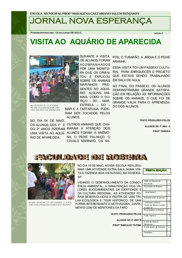 ESCOLA MUNICIPAL PROFª MADALENA CALTABIANO SALUM BENJAMINJORNAL NOVA ESPERANÇA Pindamonhangaba 12 de junho DE 2012.       ...