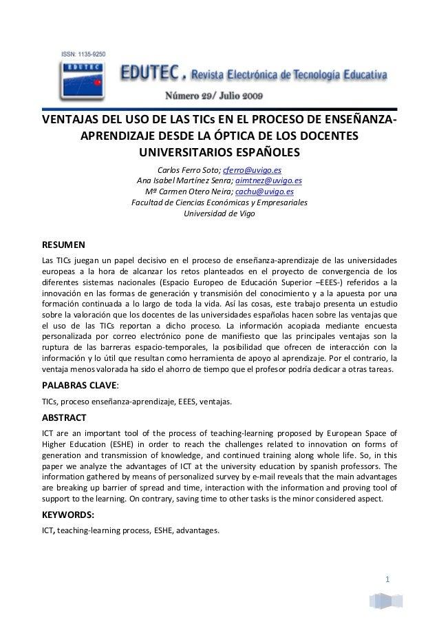 VENTAJASDELUSODELASTICsENELPROCESODEENSEÑANZA‐ APRENDIZAJEDESDELAÓPTICADELOSDOCENTES UNIVERSITARIOSESPAÑ...