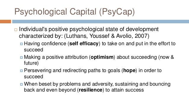psychological capital measurement and relationship with performance job satisfaction