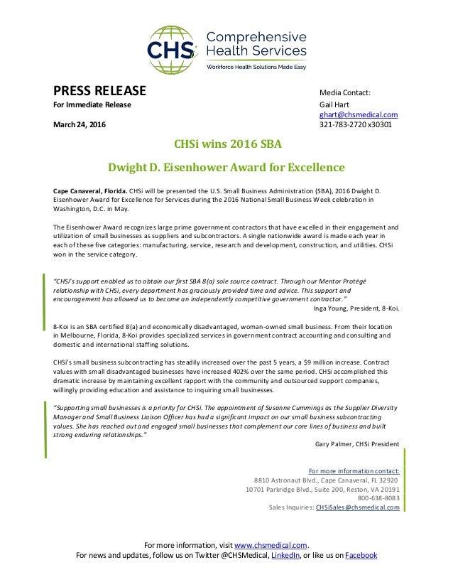 Press Release _ CHSi Wins SBA Award 2016