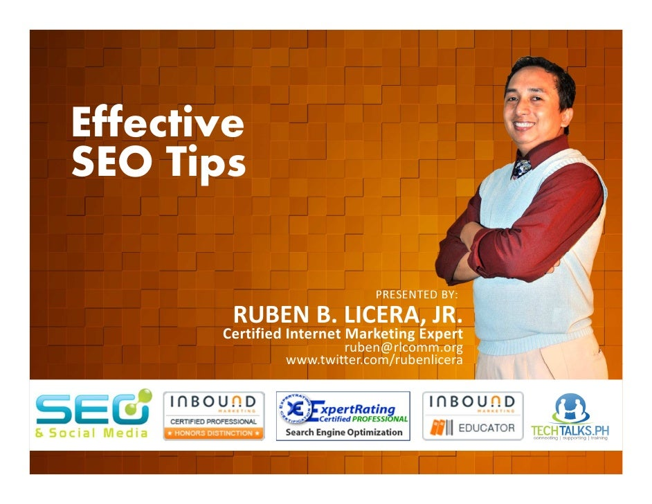Effective        SEO Tips         EVENT ORGANIZED BY                                                    PRESENTED BY:     ...