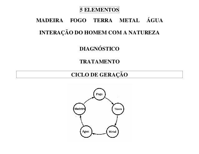5 ELEMENTOS MADEIRA FOGO TERRA METAL ÁGUA INTERAÇÃO DO HOMEM COM A NATUREZA DIAGNÓSTICO TRATAMENTO CICLO DE GERAÇÃO