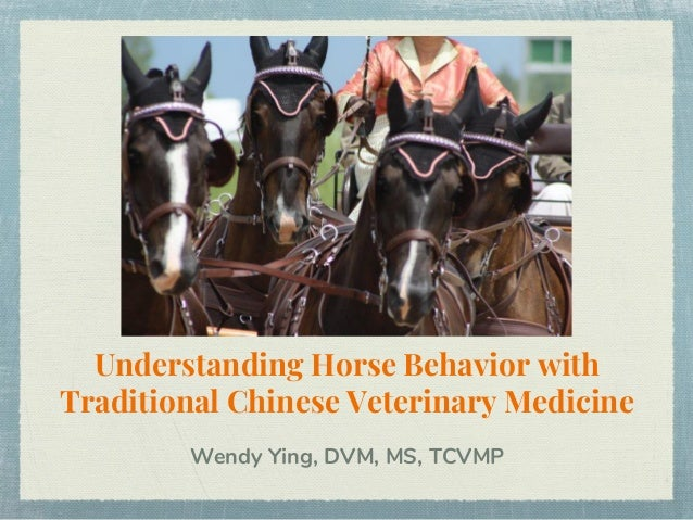 Understanding Horse Behavior with Traditional Chinese Veterinary Medicine Wendy Ying, DVM, MS, TCVMP