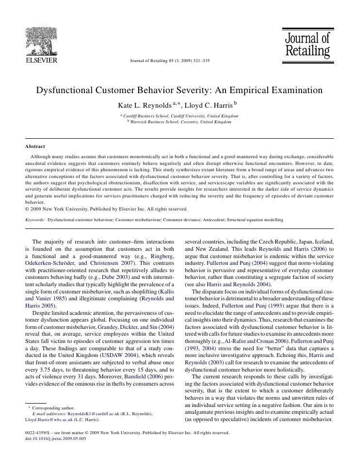 Journal of Retailing 85 (3, 2009) 321–335          Dysfunctional Customer Behavior Severity: An Empirical Examination     ...