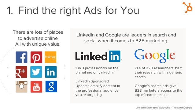 1. Find the right Ads for You There are lots of places to advertise online All with unique value. LinkedIn and Google are ...