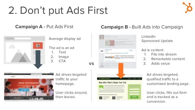 2. Don't put Ads First Campaign A - Put Ads First Average display ad The ad is an ad 1. Text 2. Image 3. CTA Ad drives tar...