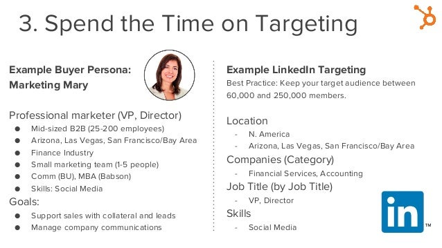 3. Spend the Time on Targeting Example Buyer Persona: Marketing Mary Professional marketer (VP, Director) ● Mid-sized B2B ...