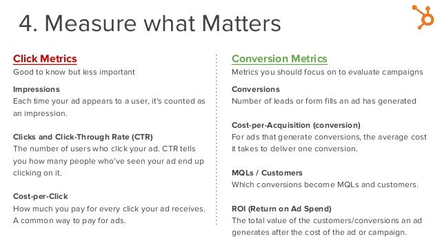 4. Measure what Matters Click Metrics Good to know but less important Impressions Each time your ad appears to a user, it'...