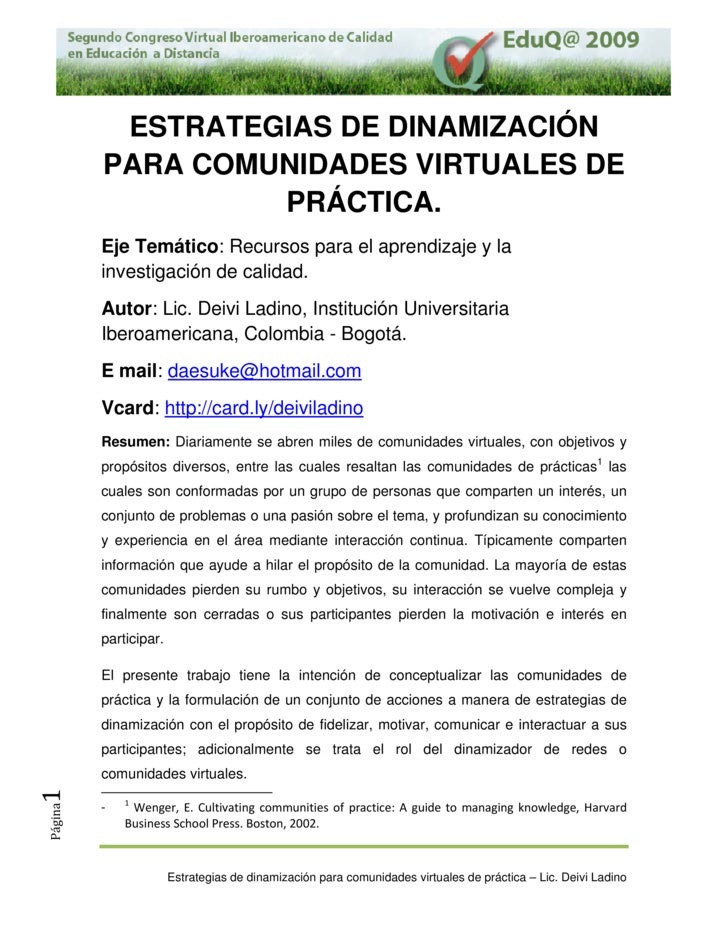 SegundoCongresoVirtualIberoamericanodeCalidadenEducaciónaDistancia–EduQ‐2009.               ESTRATEGIAS DE DIN...