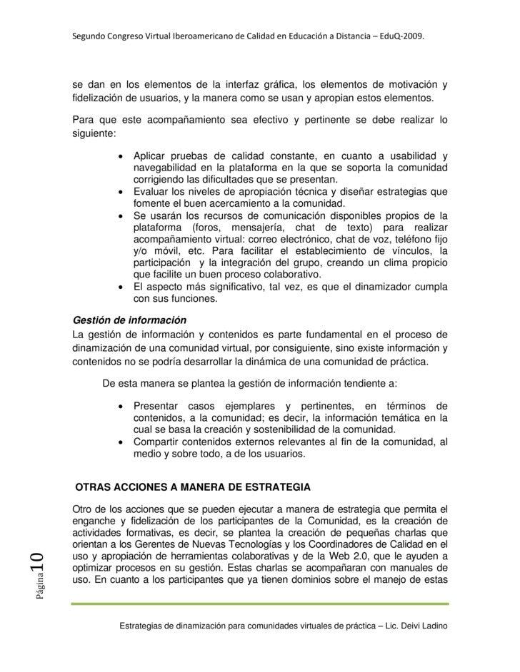 SegundoCongresoVirtualIberoamericanodeCalidadenEducaciónaDistancia–EduQ‐2009.               se dan en los elem...