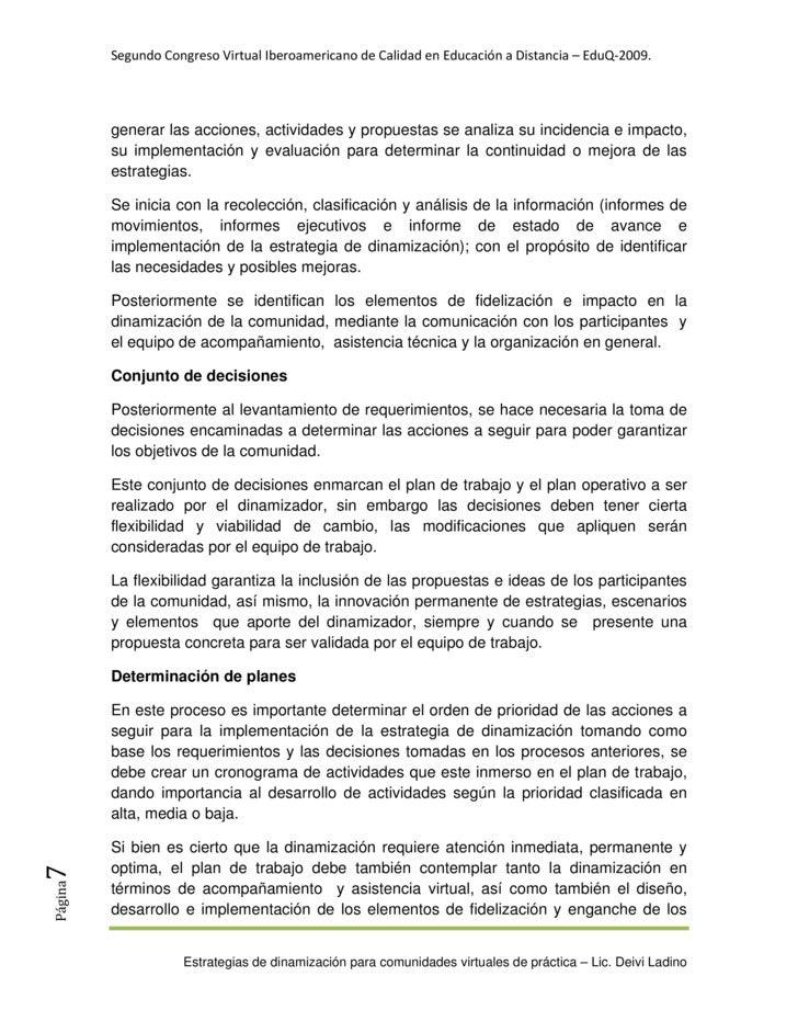 SegundoCongresoVirtualIberoamericanodeCalidadenEducaciónaDistancia–EduQ‐2009.              generar las accione...