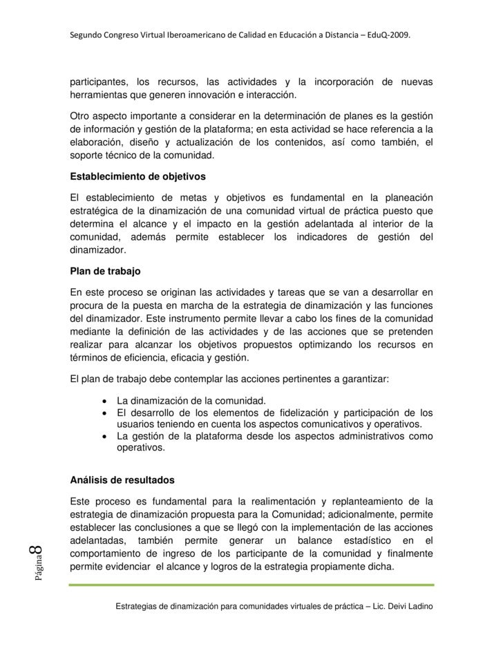 SegundoCongresoVirtualIberoamericanodeCalidadenEducaciónaDistancia–EduQ‐2009.              participantes, los ...