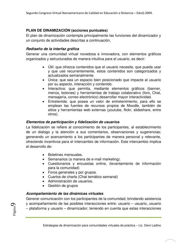 SegundoCongresoVirtualIberoamericanodeCalidadenEducaciónaDistancia–EduQ‐2009.              PLAN DE DINAMIZACIÓ...