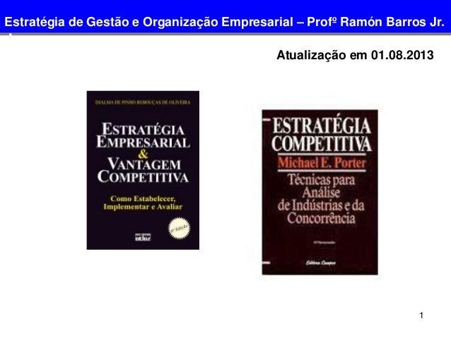 1 Atualização em 01.08.2013 Estratégia de Gestão e Organização Empresarial – Profº Ramón Barros Jr. Jr.