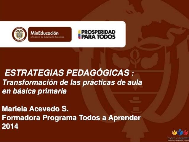 ESTRATEGIAS PEDAGÓGICAS : Transformación de las prácticas de aula en básica primaria Mariela Acevedo S. Formadora Programa...
