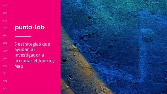 BCN MAD SCL MDE BOG LIM MEX MIA SFO SDQ GYE EZE 5 estrategias que ayudan al investigador a accionar el Journey Map