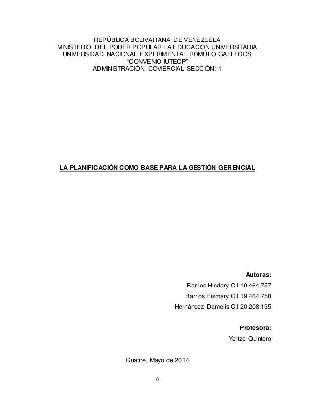 0 REPÚBLICA BOLIVARIANA DE VENEZUELA MINISTERIO DEL PODER POPULAR LA EDUCACION UNIVERSITARIA UNIVERSIDAD NACIONAL EXPERIME...
