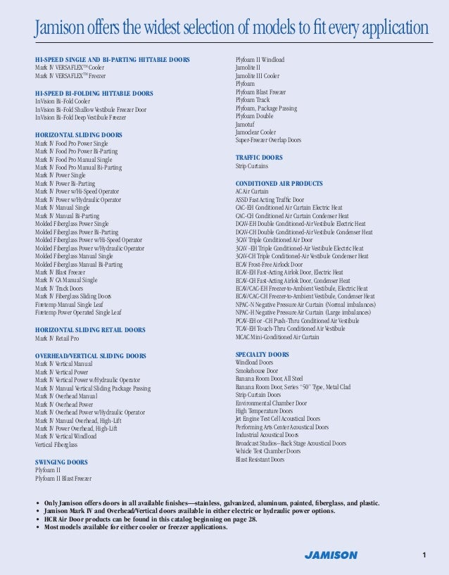 The World Leader in Cold Storage Doors; 3. Jamisonoffersthewidestselectionofmodelstofiteveryapplication ...  sc 1 st  SlideShare & Jamison Door Company Catalog