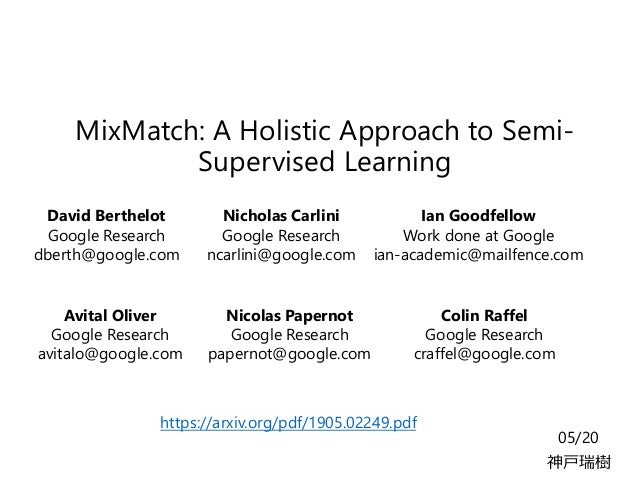 MixMatch: A Holistic Approach to Semi- Supervised Learning 05/20 神戸瑞樹 Nicholas Carlini Google Research ncarlini@google.com...