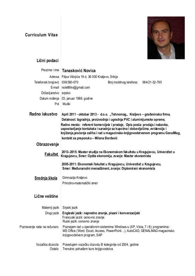 curriculum vitae srpski jezik