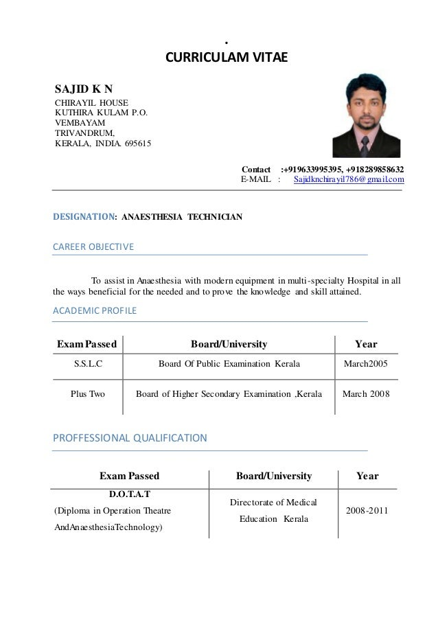cv for mechanic
