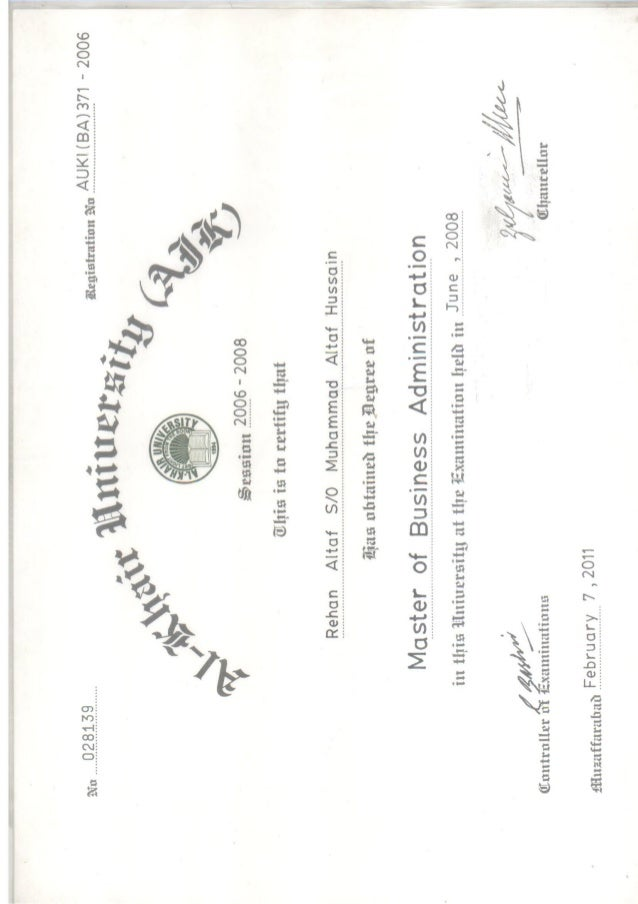 MBA Al Khair Degree Pg1