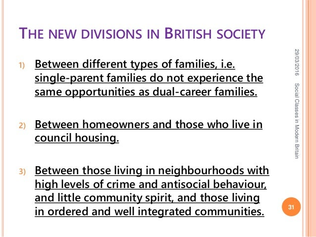 social classes in britain Contemporary britain our analysis proceeds in five steps firstly,  matic means of placing individuals into social classes using standard nationally repre.