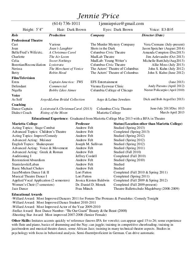 professional theatre resume tier brianhenry co