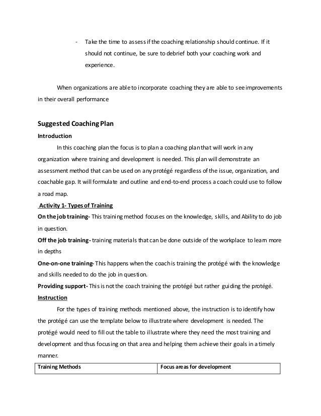 Coaching Plan Assignment 2 – Coaching Plan Template