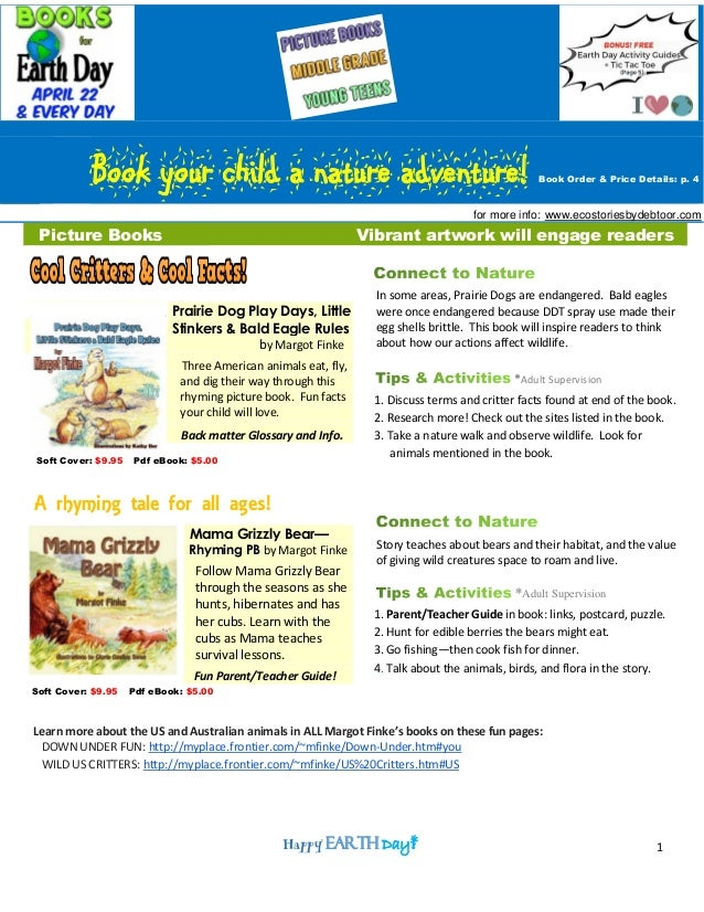 1 Book your child a nature adventure! Book Order & Price Details: p. 4 for more info: www.ecostoriesbydebtoor.com Picture ...