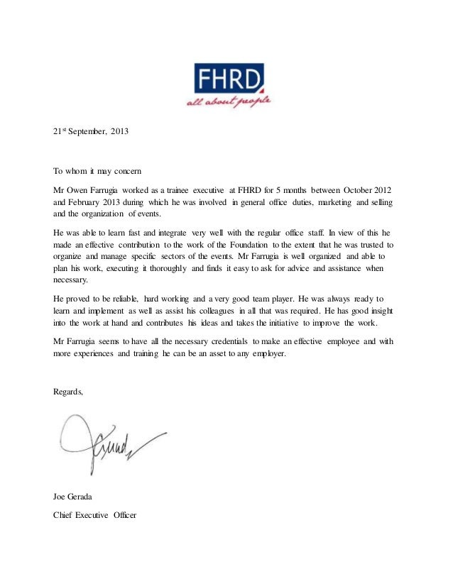 Reference letter fhrd mr joe gerada 21st september 2013 to whom it may concern mr owen farrugia worked as a trainee expocarfo Image collections