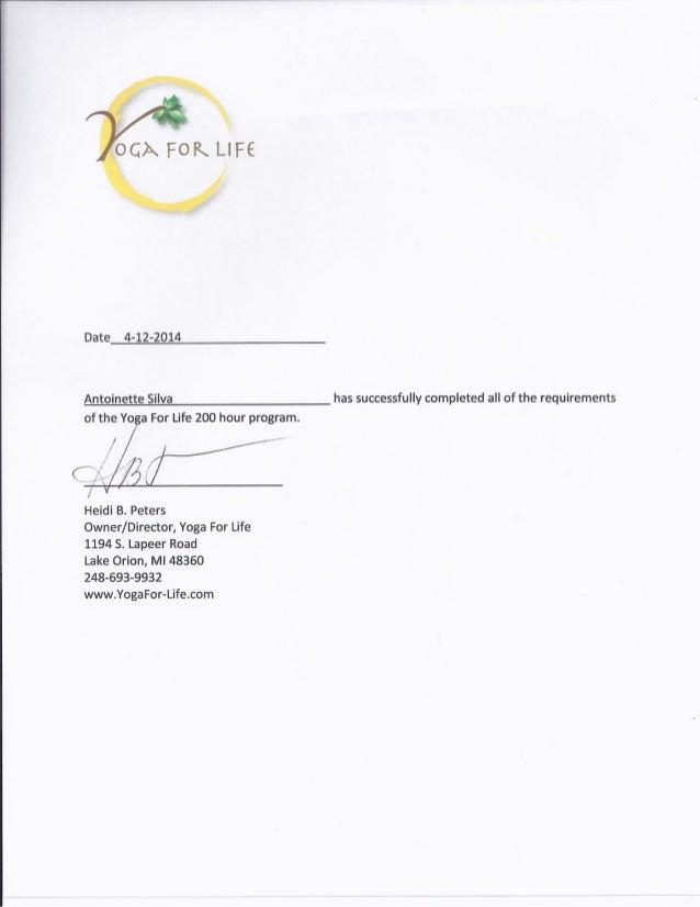 Yoga Certification Form