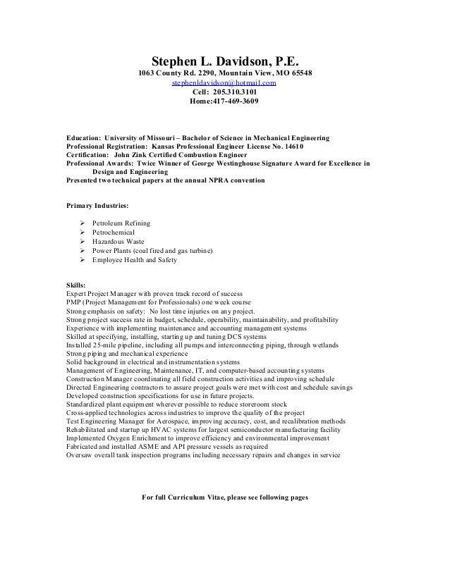 engineering professional resume