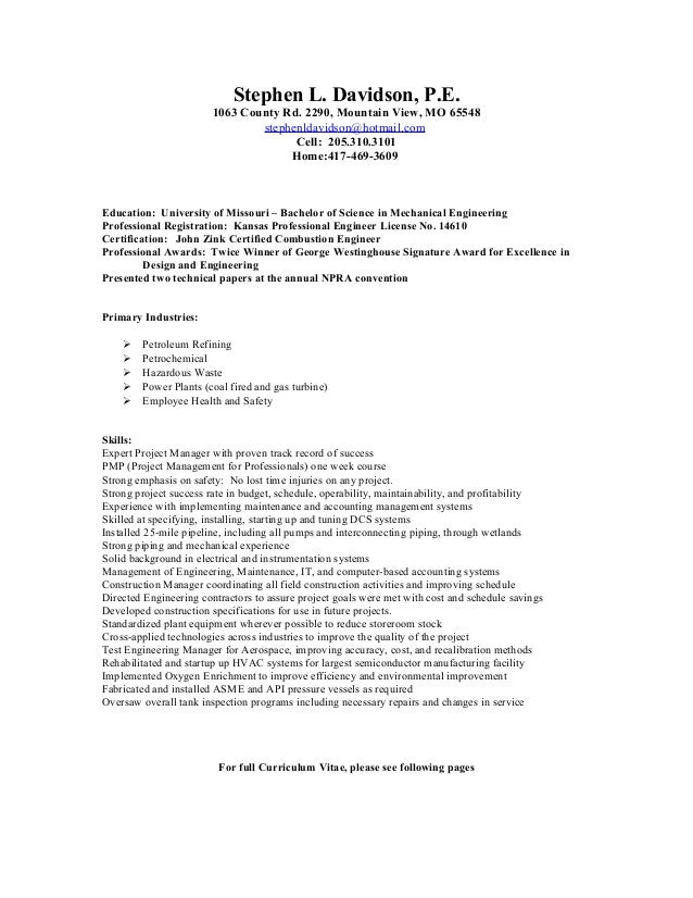 Steve Davidson Engineering Resume. Stephen L. Davidson, P.E. 1063 County  Rd. 2290, Mountain View, ...  Professional Engineering Resume