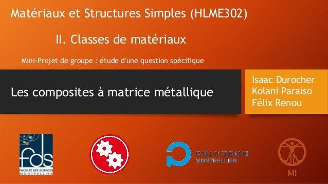 Isaac Durocher Kolani Paraiso Félix Renou Matériaux et Structures Simples (HLME302) II. Classes de matériaux Mini-Projet d...