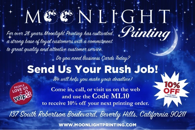 For over 28 years Moonlight Printing has cultivated a strong base of loyal customers with a commitment to great quality an...