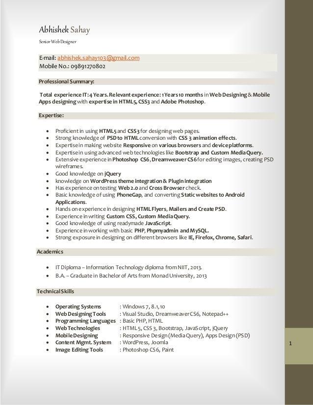 Abhishek Sahay (Web Designer) CV