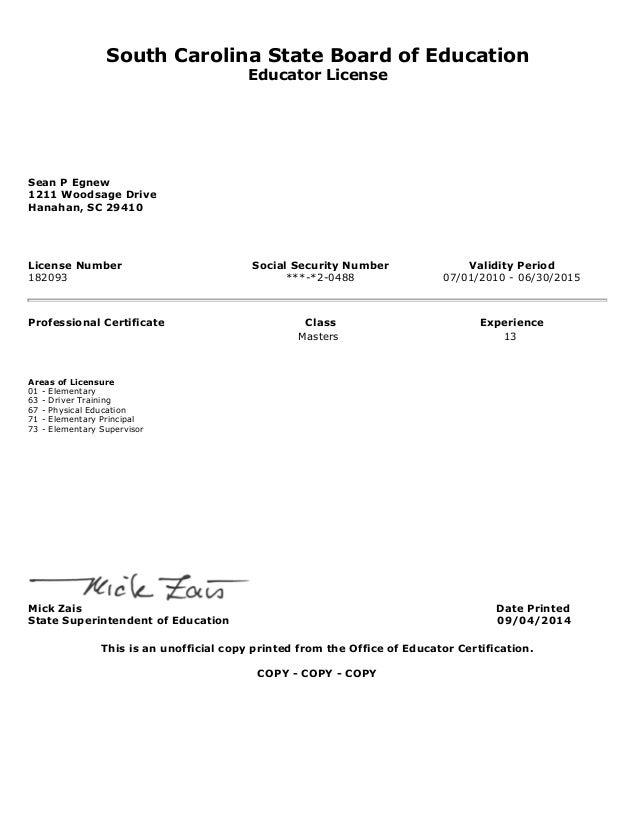 Egnew Teaching Certificate