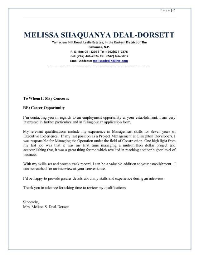 melissa shaquanya deal resume 2016