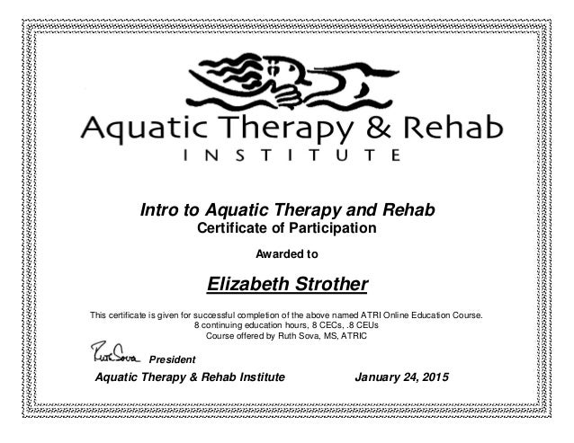 rehab certificate aquatic therapy elizabeth slideshare strother intro upcoming