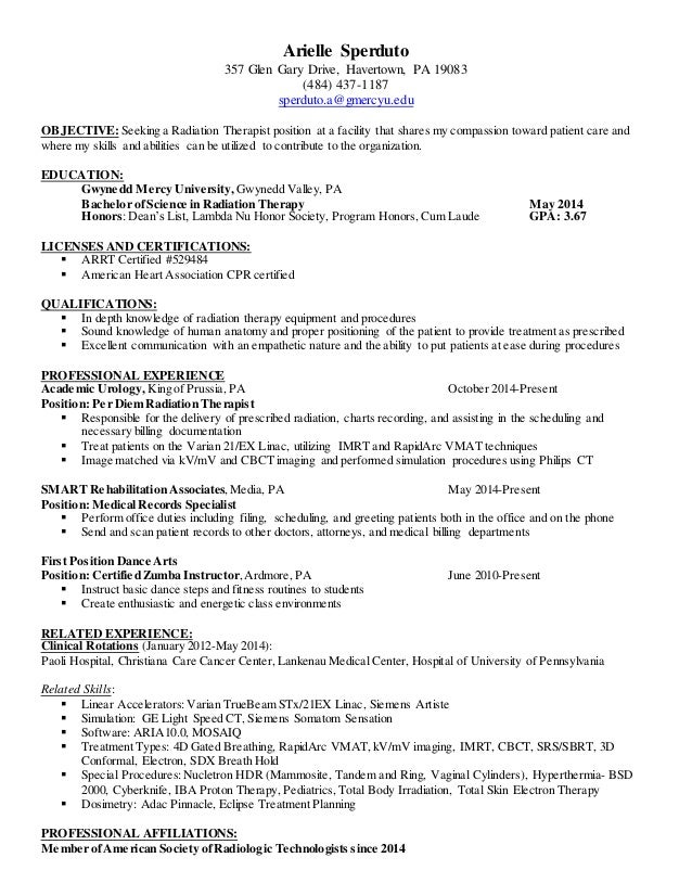 arielle resume - Radiation Therapist Cover Letter
