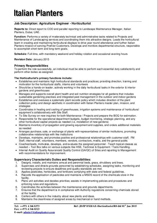 Job Description - Agriculture Engineer - Holticulturist