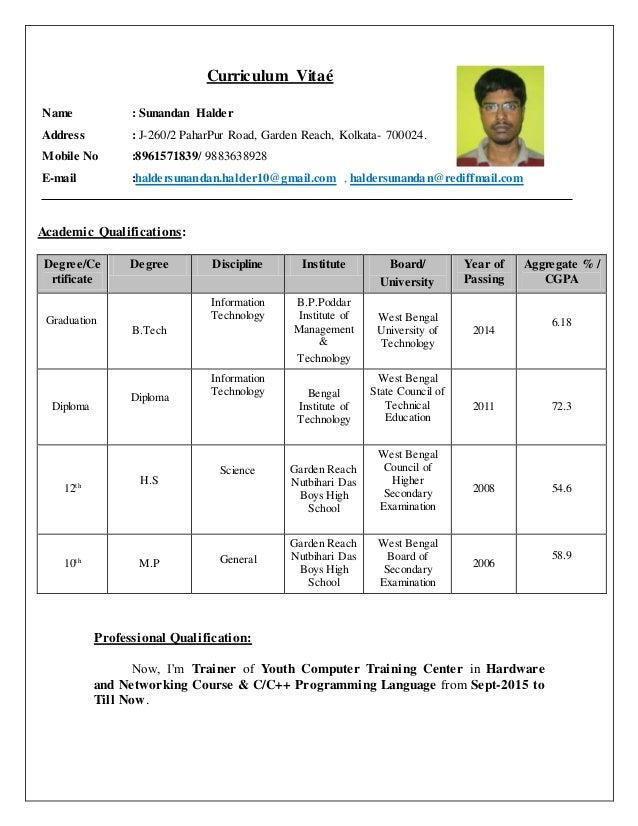 Curriculum Vitaé Name : Sunandan Halder Address : J-260/2 PaharPur Road, Garden Reach, Kolkata- 700024. Mobile No :8961571...