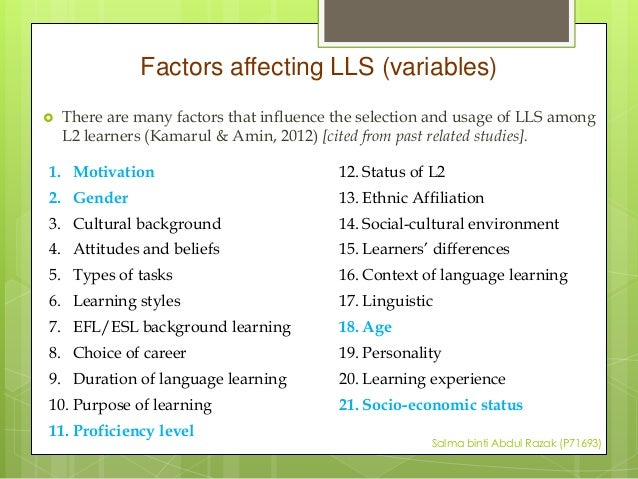 factors affecting efl learners english listening Efl teachers' factors and students' affect 62 variables, which may influence students' affection in september 2006, the questionnaire was administered to 225 english majors studying at the.
