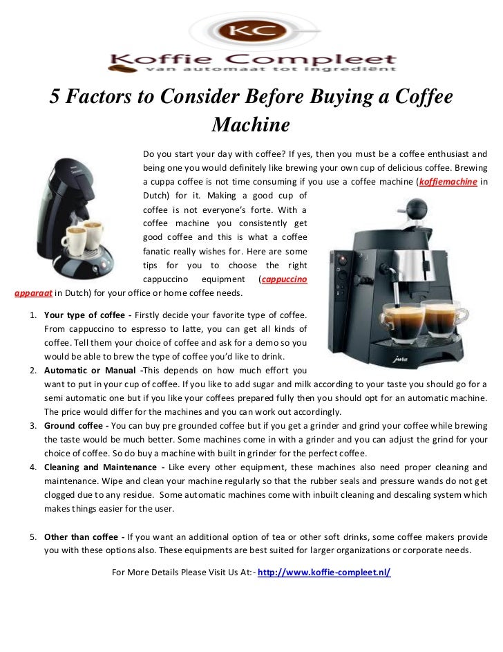 5 Factors To Consider Before Buying A Coffee Machine Do You Start .