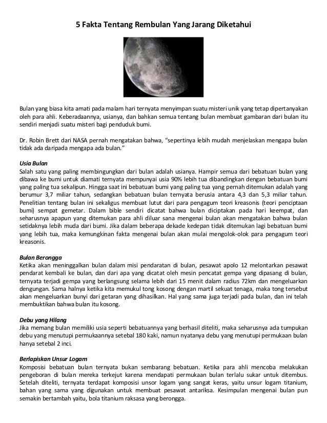 5 Fakta Tentang Rembulan Yang Jarang Diketahui Bulan yang biasa kita amati pada malam hari ternyata menyimpan suatu mister...
