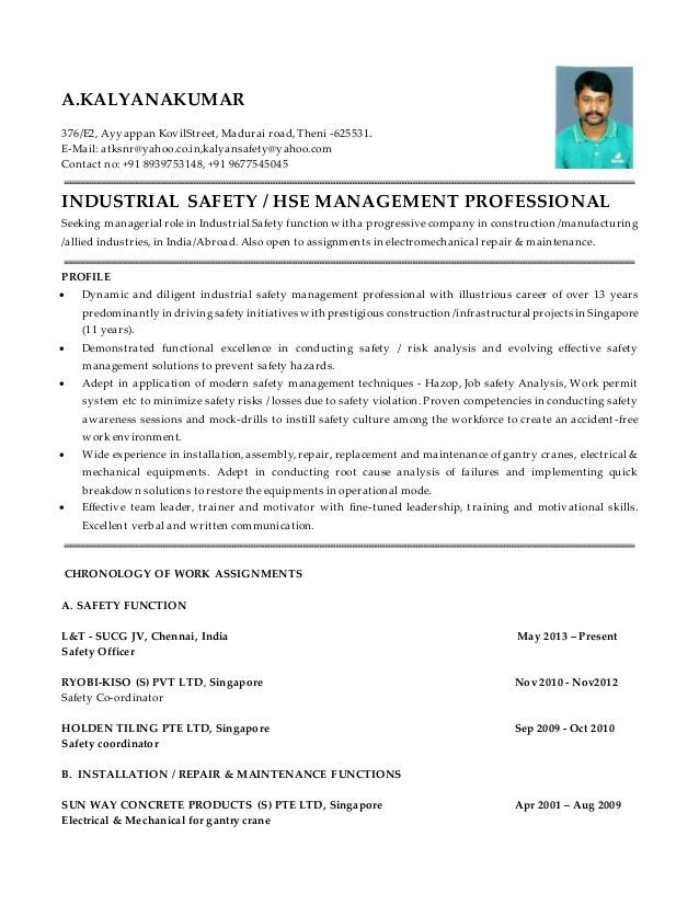 thanks and regards a kalyanakumar 2 - Safety Coordinator Resume