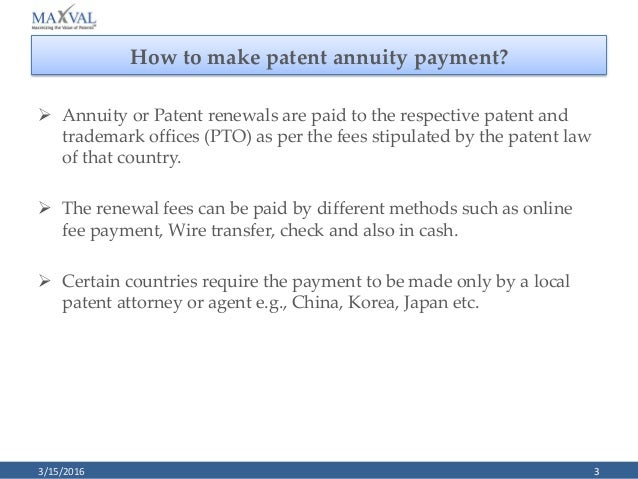 Paralegal Training Patent Annuity Payment and Annuity Payer