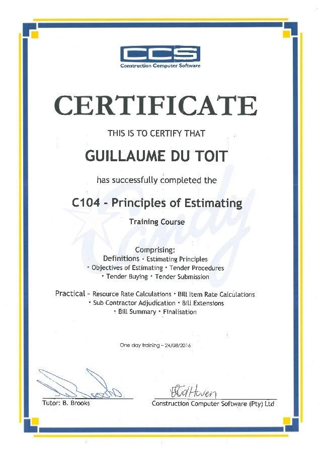 Ccs Candy C104 Certificate